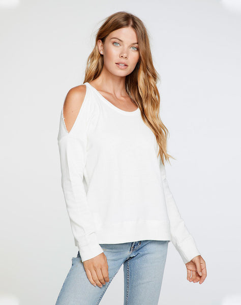 Linen French Terry Long Sleeve Vented Dolman Pullover in Jasmine White