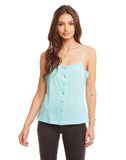 Linen Jersey Button Front Cropped Cami