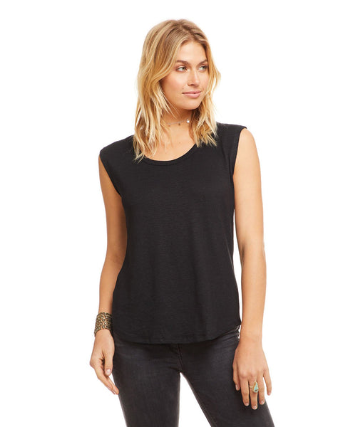 Linen Jersey Scoop Neck Cap Sleeve Shirttail Tee