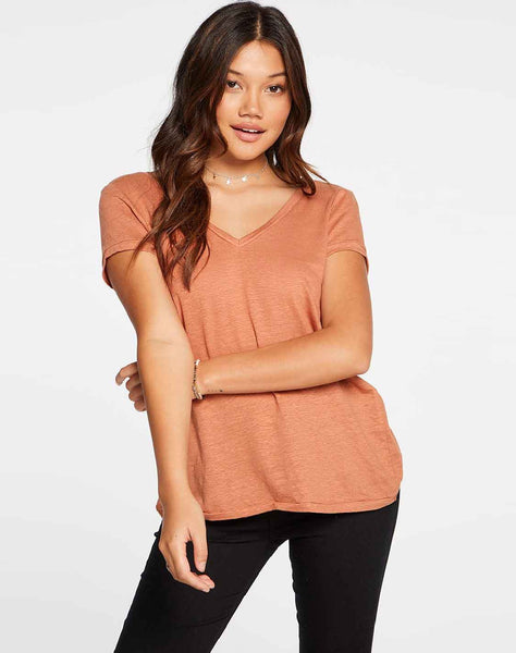 Linen Jersey Short Sleeve Deep V Open Back Tee in Sunkissed Brown