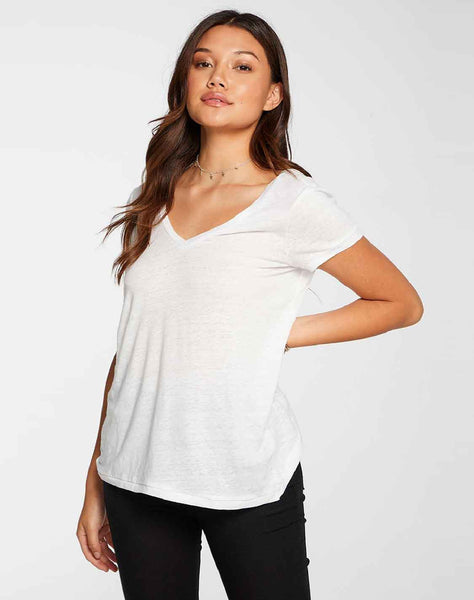 Linen Jersey Short Sleeve Deep V Open Back Tee in White
