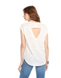 LINEN JERSEY V NECK OPEN BACK SHIRTTAIL CAP SLEEVE MUSCLE TEE