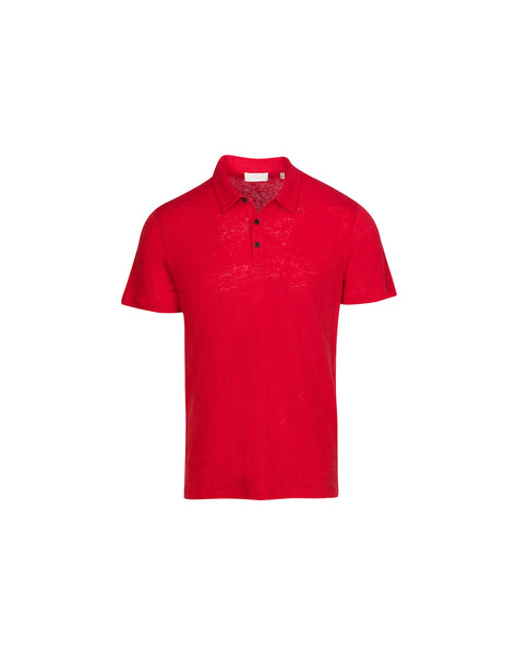 Linen Polo Shirt in Red