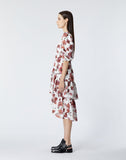 Long ecru dress with smocking & floral print