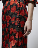 Long Frilly Skirt With Floral Print