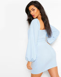 Long Sleeve Cross Detail Mini Dress