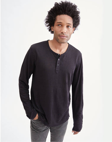 Long Sleeve Uniform Henley In Black
