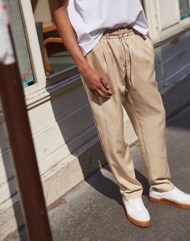 Loose, Beige Cotton Twill Trousers With Woven Blue Piping