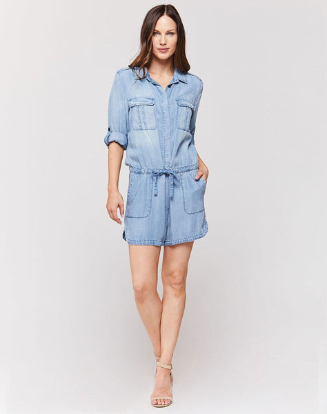 Luba Fade Out Blue Button-Up Tab Sleeve Utility Romper