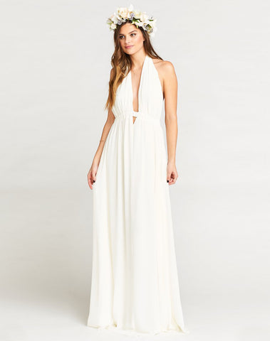 Luna Halter Dress ~ Ivory Chiffon