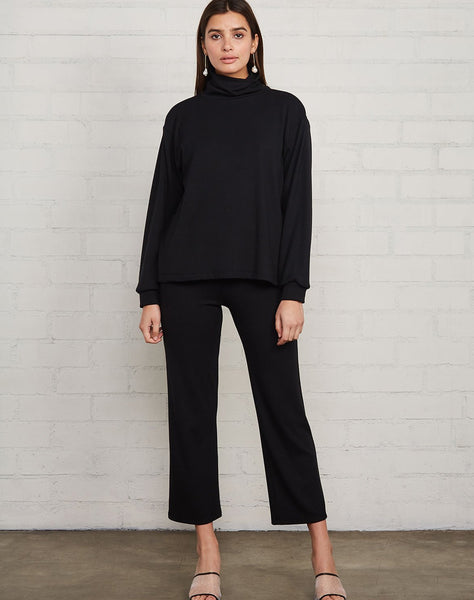 Luxe Rib Turtleneck Sweatshirt - Black