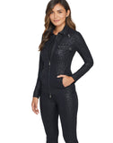 Madeline Zip-Front Cargo Jacket in Embossed Cheetah