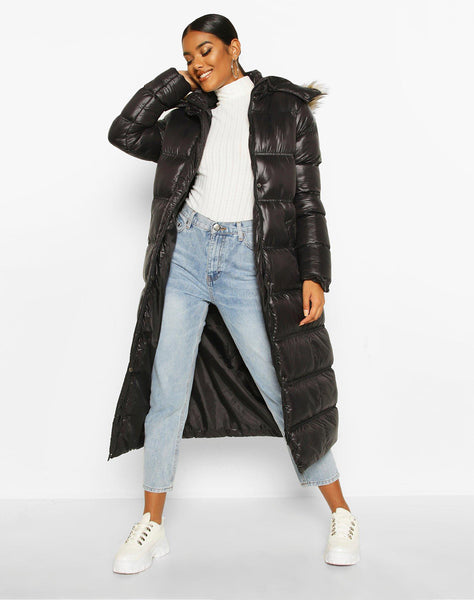 Maxi Cire Panelled Padded Jacket With Faux Fur Trim
