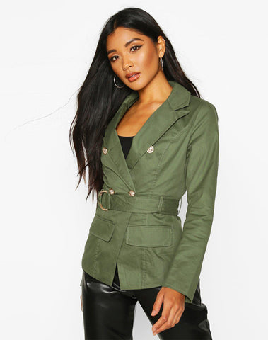 Military Detail Belted Twill Blazer