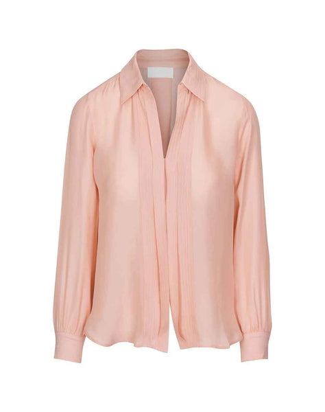 Mini Placket Collared Shirt in Pink Dawn