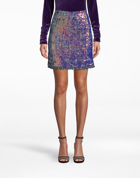 Sequin Tweed Mini Skirt