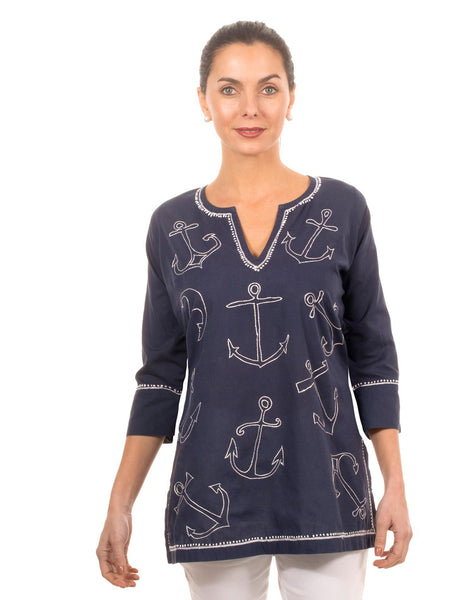 """Mommy & Me"" Mommy Cotton  Hand Embroidered Tunic - Anchor"