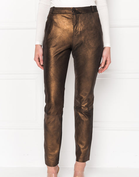 Morissa Distress Bronze Leather Trousers