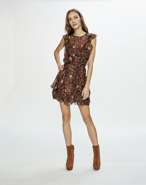 Moroccan Paisley Ruffle Mini Dress