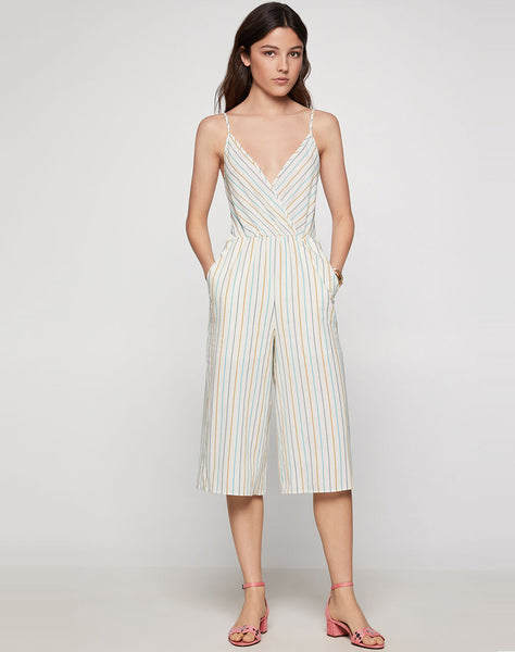 Multi-stripe Culotte Jumpsuit