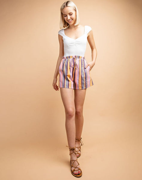 Multi Stripe Elastic Waist Drawstring Shorts
