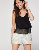 Multi-stripe Paperbag Waist Short