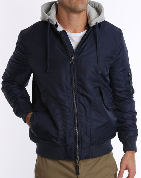 Navy Nylon Bomber Jacket