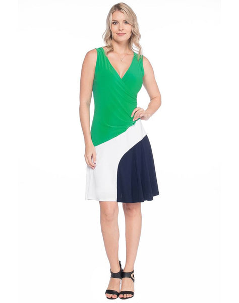 Kelly Green/White/Navy Surplice Tank Dress With Side Gather - MS1370A