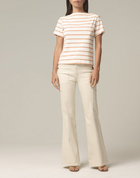 Nell Boat Neck T-shirt In Penny Stripe