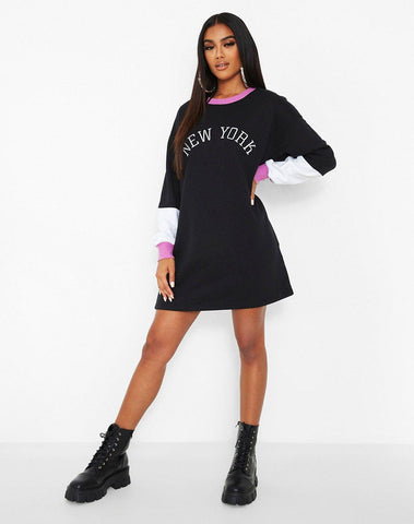 New York Embroided Colour Block Sweat Dress