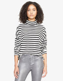 Nikolai Cowl Neck Top Black and White Stripe