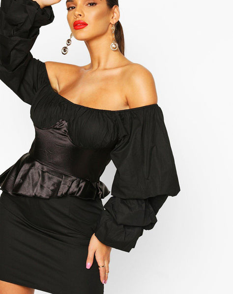 Off The Shoulder Peplum Corset Mini Dress