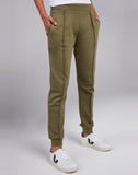 Cotton Fleece Joggers in Olive
