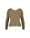Cotton Fleece Pullover in Olive