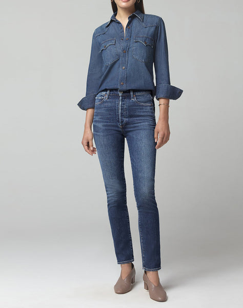 Olivia Long High Rise Slim Fit in Shyness