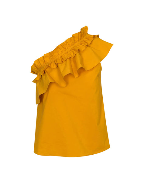 One Shoulder Ruffle Top In Gold Sunburst