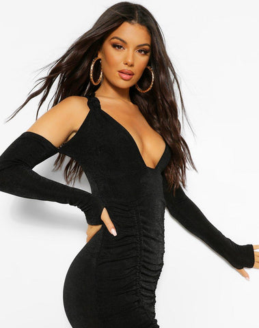 One Shoulder Textured Slinky Ruched Mini Dress