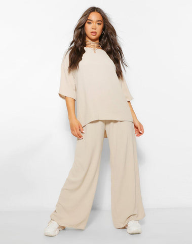 Oversized Luxe Top And Wide Leg Trouser Co-ord