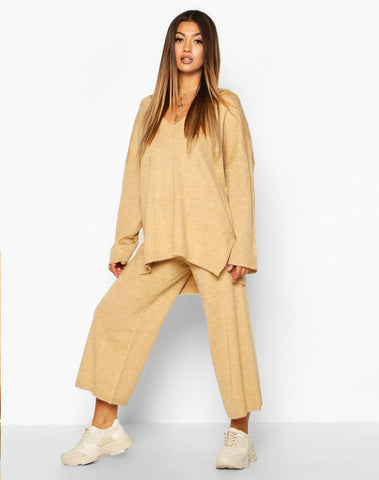 Oversized Slouchy Knitted Deep V Neck Two-piece Set