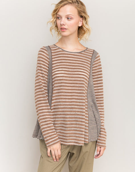 Oversized Stripe Mix Casual Top