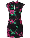 Painted Floral On Satin Mei Dress
