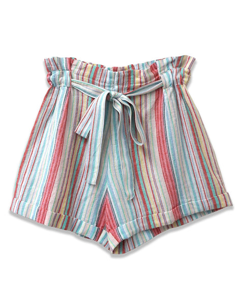 Paperbag Waist Striped Short | Turquoise Combo