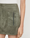 Patch Pocket Faux Suede Skirt