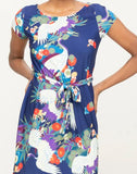 Peacock Print Dress With Waist Tie