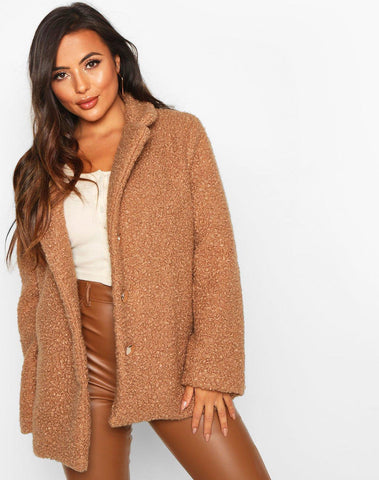 Petite Gold Button Detail Teddy Coat