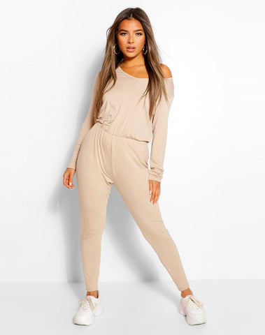 Petite Long Sleeve Basic Jumpsuit