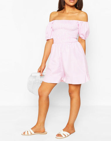 Petite Pin Stripe Shirred Top Frill Hem Romper