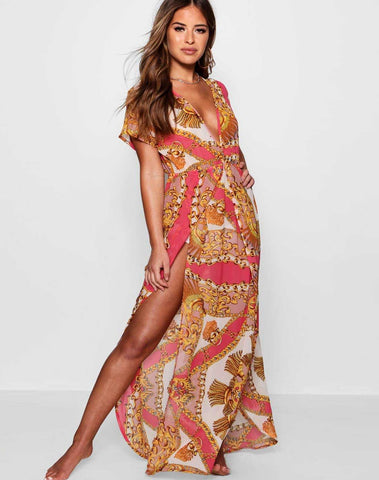 Petite Scarf Print Wrap Beach Maxi Dress