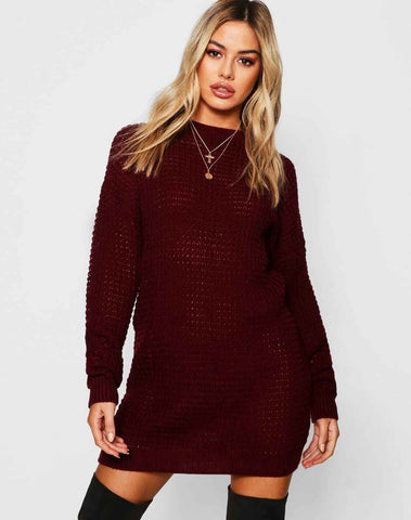 Petite Waffle Knit Oversized Sweater Dress