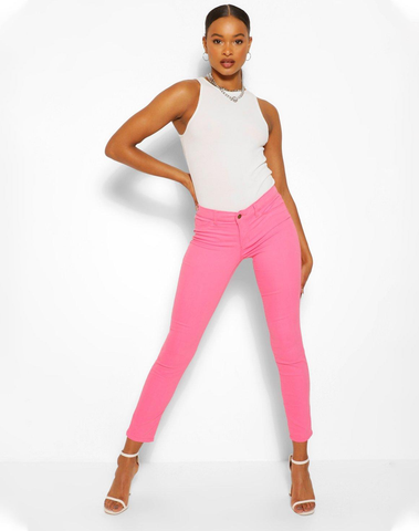 Pink Premium Skinny Stretch Denim Jeans